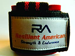 Wrist lifting straps for bodybuilding and weight lifting - Best wrist wrap for barbel and deadlift - Resilient American High Quality Materials Provides forearm and wrist support - Awesome black and red design - 1 year warranty