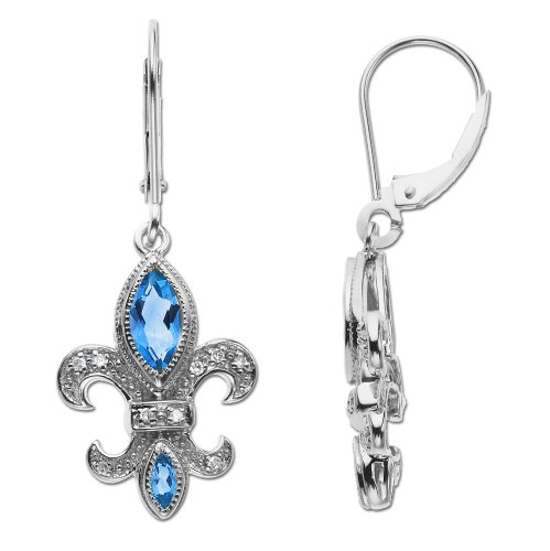 14k White Gold Blue Topaz and Diamond Fleur-de-Lis Earrings