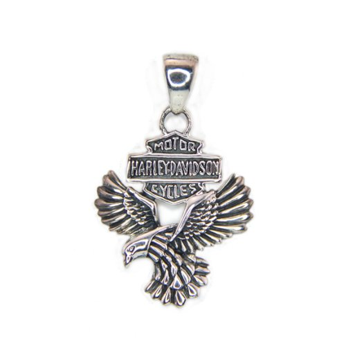 Smileface Sterling Silver Harley Davidson Motorcycles Eagle Pendant Necklace