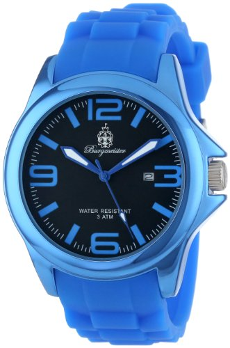 Burgmeister Fun Time Women's Quartz Watch with Black Dial Analogue Display and Blue Silicone Strap BM166-033