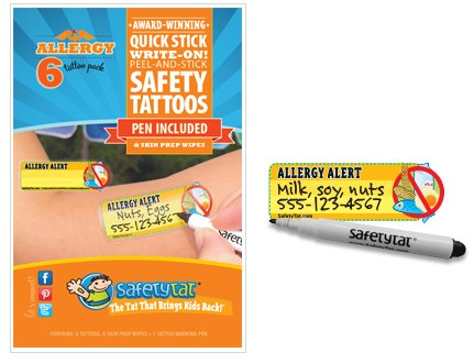Theme Park Food and Safety - SafetyTat Child ID Tattoos (ALLERGY 6pk)