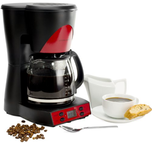 Andrew James 1000 Watt Red Automatic Filter Coffee Maker With Reusable Mesh Filter And 12 Cup Capacity - Includes 2 Year Warranty