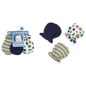 Gerber Baby-Boys Newborn 3 Pack Mitten, Blue, 0-3 Months