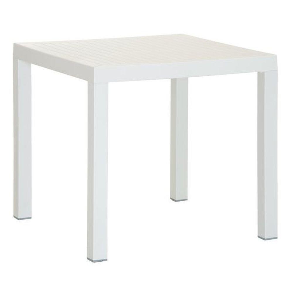 Gartentisch 80x80cm aus Kunststoff Weiß – Modell Perola günstig