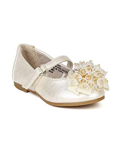 Little Angel Bc44 Leatherette Clear Beads Ribbon Ballet Flat (Toddler) - Ivory (Size: Toddler 6)