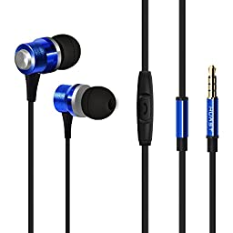 SOSAM High-Performance Earphones In-Ear Metal Headphones with Microphone for iPhone 6 / 6 Plus / iPod / iPad Air / iPad Mini, Samsung Galaxy, Note, MP3 Player, Macbook, iMac, PC Laptops (Blue)