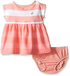 Nautica Baby Printed Rugby Stripe Dress, Soft Coral, 6-9 Months