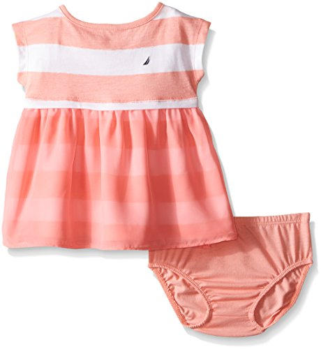 Nautica Baby Printed Rugby Stripe Dress Soft Coral 6 9