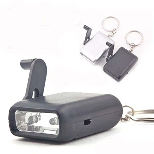 Mini Dynamo Wind-Up Keychain 2-Led Handheld Torch Flashlight