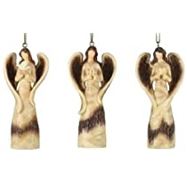 Set of 12 Woodlook Praying Rustic Angels Holding Doves Christmas Ornaments 4