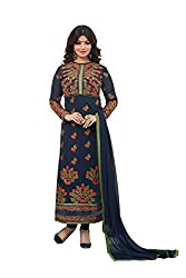 Adorn Mania Blue Heavy Georgette Embroidered salwar Suits Dress Material