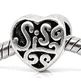 Believe Beads © 1 X SIS (sister) Heart Charm Bead fits Pandora/Troll/Chamilia style Bracelets