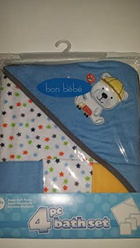Bon Bebe 4 piece Bath Set Towel & 3 Wash Cloths Blue