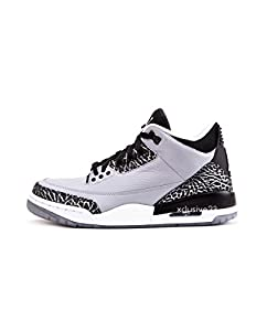Men Nike Air Jordan 3 Retro Wolf Grey/Metallic Silver-Black-White 136064-004 Size 9 D(M) US