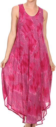 Sakkas 16801 - Laeila Tie Dye Washed Tall Long Sleeveless Tank Top Caftan Dress / Cover Up - Fuchsia - OS (Tie Dye In Womens Shoes compare prices)