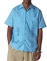 Embroidered cotton blend guayabera color turquoise blue.