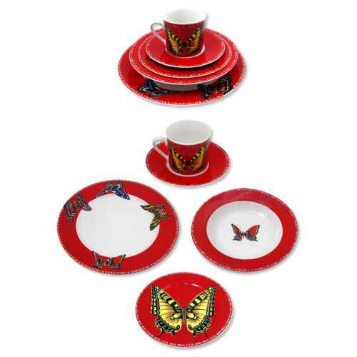 Lynns 20Pc Maesto Red Dinner Set W/Butterfly Design