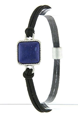 Karmas Canvas Square Faux Stone Gem Accent Bracelet Hair Tie (Royal Blue) front-203570