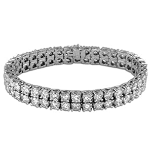 20.77 Ct Round Diamond Double Row Tennis Bracelet in 18k White Gold