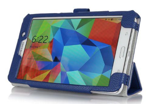 Procase Samsung Galaxy Tab 4 7.0 Tablet Case With Bonus Stylus Pen - Tri-Fold Book Cover Case For 7 Inch Galaxy Tab 4 (2014 Released) With Stand, Hand Strap, Corner Protected (Navy, Dark Blue)