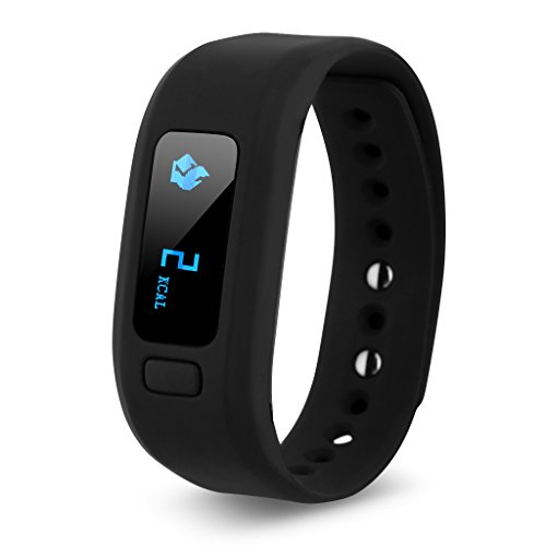 Excelvan Moving Up2 Smart Healthy Bracelet Bluetooth V4.0 Wristband with Pedometer/sleep Monitoring/tracking Calorie/remote Capture Compatible for Android and IOS (Black)