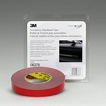 "3M 06378 Acrylic Automotive Attachment Adhesive Tape, 0.030"" Thick, 10m Length x 50.8mm Width, Blue"