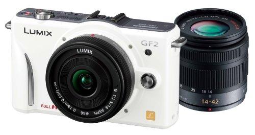 Panasonic デジタル一眼カメラ GF2 ダブルレンズキット(14mm/F2.5パンケーキレンズ、14-42mm/F3.5-5.6標準ズームレンズ付属) フルハイビジョンムービー一眼 シェルホワイト DMC-GF2 W-W