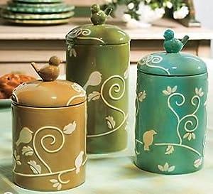vintage style bird storage canisters kitchen