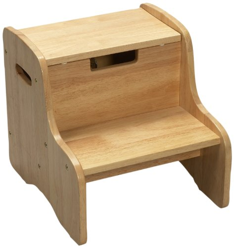 Gift Mark Childrens Two Step Stool with Storage, Natural - 1