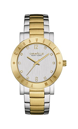 Caravelle New York Gold Boyfriend Women's Quartz Watch with Silver Dial Analogue Display and Two Tone Stainless Steel Gold Plated Bracelet 45L151