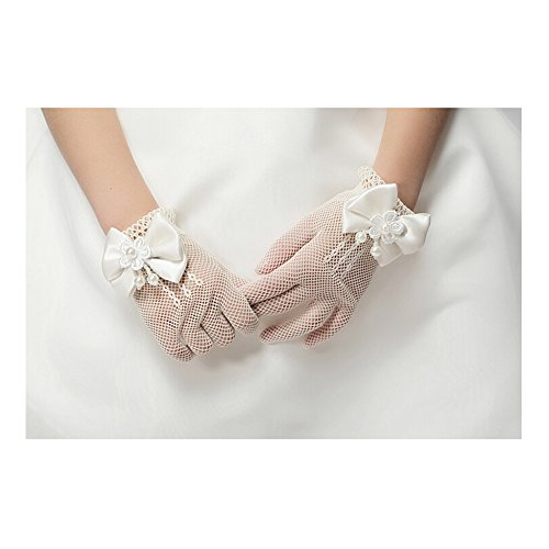 Lovesfay Girl's Bowknot Flower Net Yarn Gloves Lace Wedding Wrist Ivory Gloves