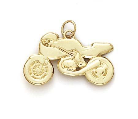 14k Sport Bike Pendant - JewelryWeb