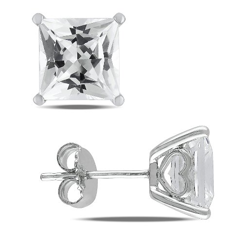 Sterling Silver 6 1/8 CT TGW Created White Sapphire Stud Fashion Earrings