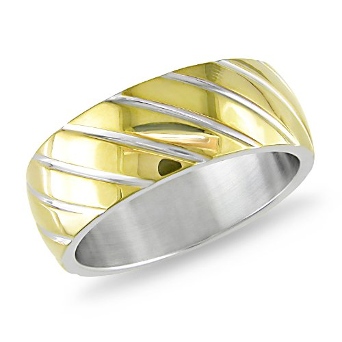 Stainless Steel Diagonal Line Design Band With Gold Plated Ring
