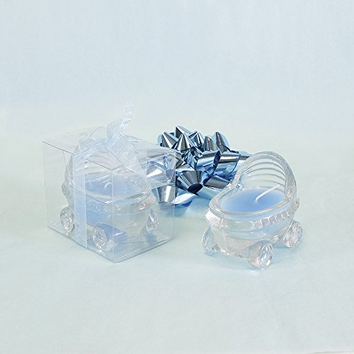 "Lunaura Baby Keepsake - Set of 12 ""Boy"" Glass Baby Stroller Scented Candle - Blue"