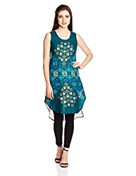 Global Desi Women's Rayon A-Line Dress (IM351582-TU-610_Teal_Large)