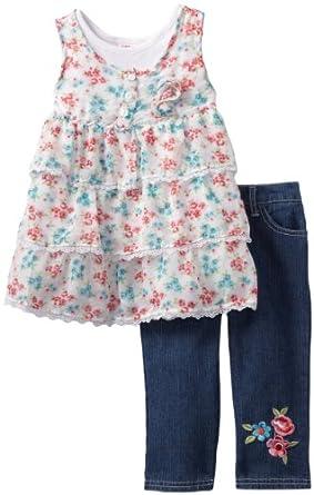 Young Hearts Little Girls' Floral Ruffle 2 Piece Denim Capri Set, White, 5