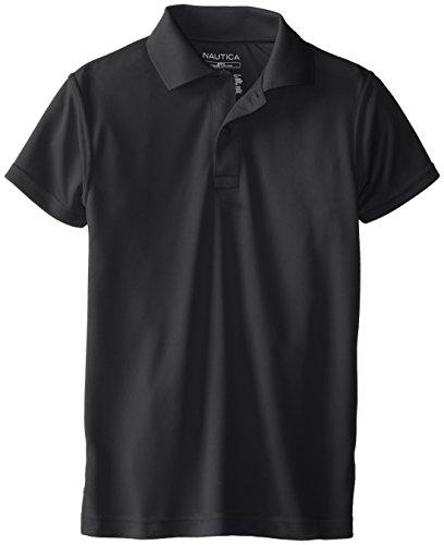 Nautica Big Boys' Uniform Short Sleeve Performance Polo, Black, Medium front-1056486