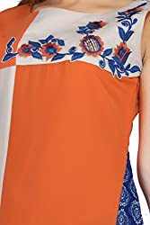 Feather Touch Women's Georgette Kurti (FT3174OG4_Orange_44)