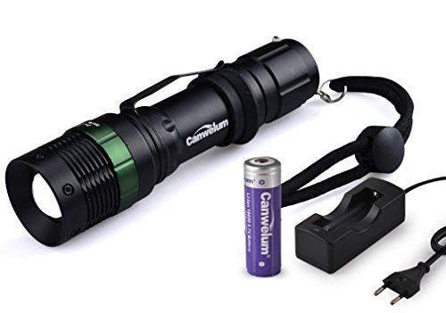 Canwelum-Helle-Leistungsstarke-und-Aufladbare-Cree-LED-Taschenlampe-Wetterfeste-Zoom-LED-Taschenlampe-Ein-Komplett-Set-mit-18650-Akku-Geschtzt-und-Euro-Ladegert-CE-Zertifiziert