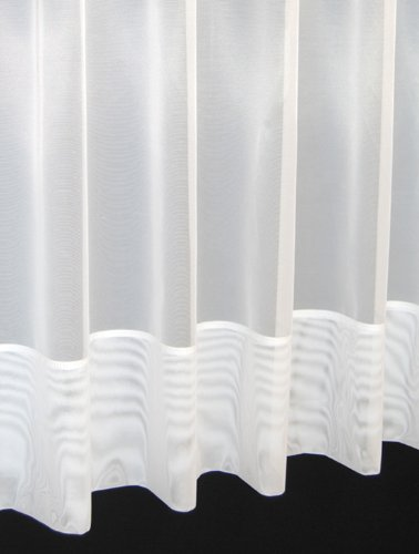 Jayne. Plain envelope hemmed voile net curtain. 36 inch drop. Finished in White. Sold by the Metre