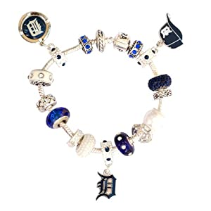 Detroit Tigers Large Hole Bead Bracelet Fits Wrist Size ~ 7 1 4 - 7 1 2 by Final Touch Gifts