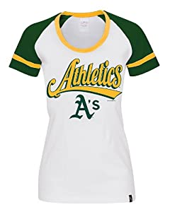 MLB Oakland Athletics Fitted Ladies Baby Jersey Short Sleeve Scoop Neck with Striped Sleeve Tee, White/Forest Green/Gold, Large
