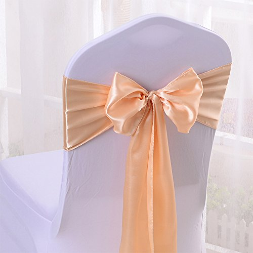 10PCS 17X275CM Satin Chair Bow Sash Wedding Reception Banquet Decoration #04 Champagne