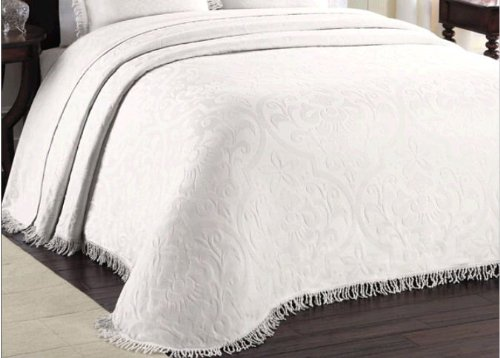 Color All Over Brocade Bedspread Color White Size Full