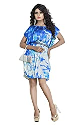 Sadhana Impex Satin Dress,White and Blue(xl)
