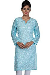 ADA Needlecraft Ethnic Wear Casual Chikan Womens Georgette Kurti Dress A90358
