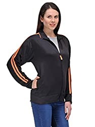 Scott Women wrinkle free Dryfit Jacket (Black with Orange Stripes) - FBALJKT2XXL