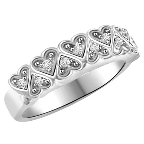 0.28 Ct Diamond and 18kt Gold Rhodium Plated Heart Shaped Ring
