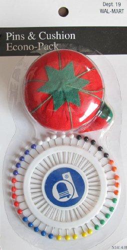 Straight Pins & Tomato Pin Cushion Set: Pins w Various Color Heads & Pin Cushion
